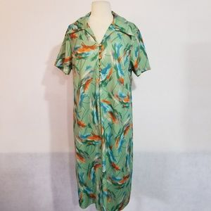 1970s Unlabeled Multi-Color Poly Dress